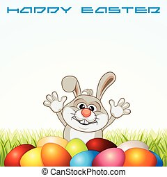 páscoa feliz, cartão cumprimento, com, coelhinho, e, ovos