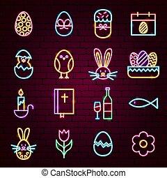 páscoa, feliz, néon, ícones