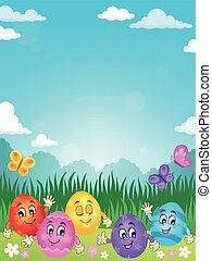 páscoa feliz, ovos, tema, imagem