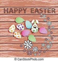 páscoa feliz, tábua, com, flores, e, ovos