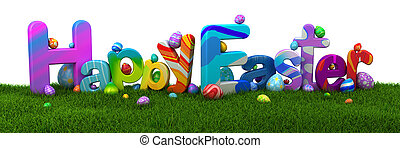 páscoa feliz, texto, com, coloridos, ovos, ligado, grama verde, -, 3d, render