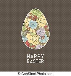 Páscoa, flores,  grunge, ovo, fundo