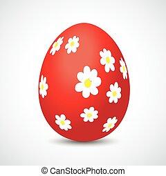 páscoa, flores, ovo, vermelho