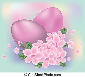 páscoa, flores, vetorial, ovos