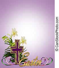 páscoa, fronteira floral, crucifixos, e, lírios