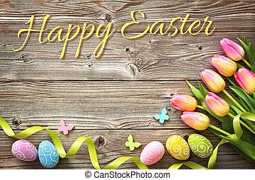 páscoa, fundo, com, coloridos, ovos, e, primavera, tulips