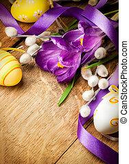 páscoa, fundo, com, flores, e, ovos páscoa