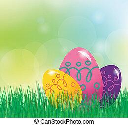 páscoa, fundo, com, ovos páscoa