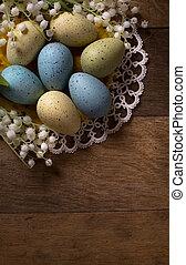 páscoa, fundo, madeira, ovos