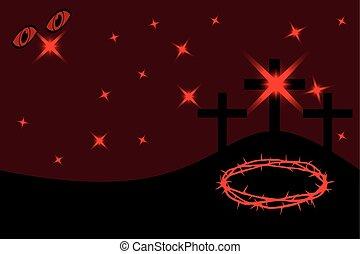 páscoa, -, golgotha, três, cruzes