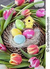 páscoa, ninho, com, tulips