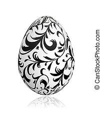 páscoa, ornamento, desenho, floral, ovo, seu