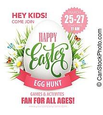 páscoa ovo caça, poster., vetorial, ilustração