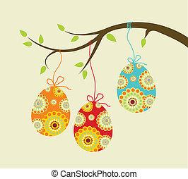 páscoa, penduradas, ovos