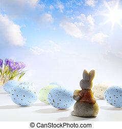 páscoa, pequeno, arte, ovos, coelhinho