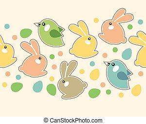 páscoa, primavera, seamless, borda