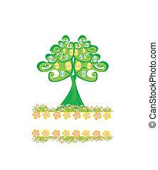 páscoa, quadro, árvore