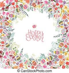 páscoa, quadro, com, contorno, flores, e, ovos