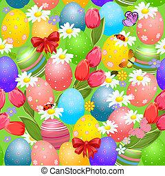 páscoa, seamless, textura, com, ovos