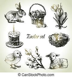 páscoa, set., mão, desenhado, ilustrações