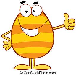 páscoa, sorrindo, ovo, coloridos