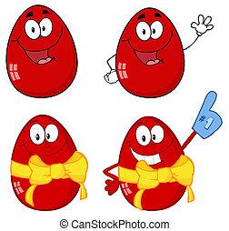 páscoa, vermelho, ovos