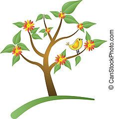pássaro, árvore