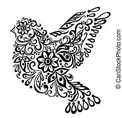 pássaro, abstratos, isolado, mão, white., desenho
