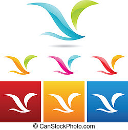pássaro, abstratos, lustroso, ícones