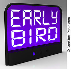 pássaro adiantado, relógio, mostra, pontualidade, ou,...