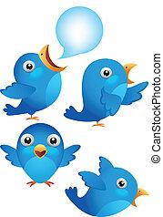 pássaro azul, caricatura