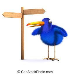 pássaro azul, perdido, 3d