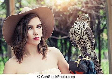 pássaro, chapéu, ao ar livre, bonito, retrato, mulher, fedora
