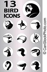pássaro, cobrança, ícones