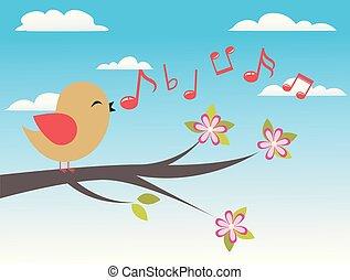 pássaro, com, primavera, árvore