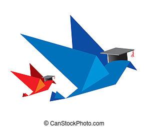 pássaro, conceito, educação
