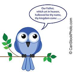 pássaro, de, rezar