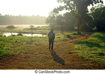 pássaro, fotógrafo, com, natureza
