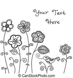 pássaro, fundo, floral
