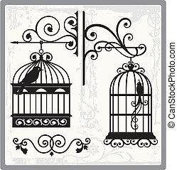 pássaro, gaiolas, 00