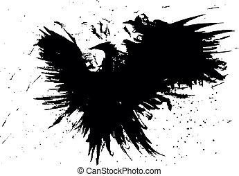 pássaro, grunge, abstratos