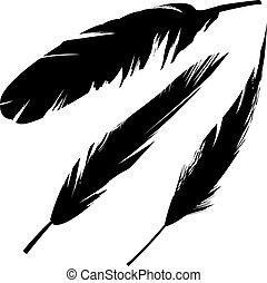pássaro, grunge, silueta, penas