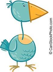 pássaro, ilustração, caricatura