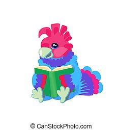 pássaro, papagaio, personagem, luminoso, book., s, leitura, crianças