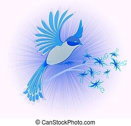 pássaro paraíso, com, flowers., eps10, vetorial, ilustração