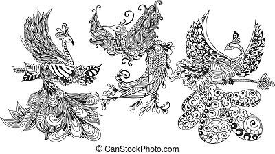 pássaro, phoenix, três