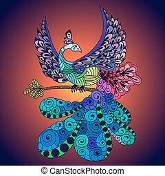 pássaro, phoenix, violeta