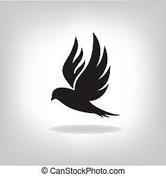 pássaro preto, isolado, com, expandido, asas