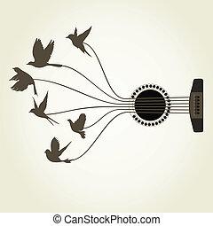 pássaro, um, guitarra