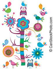 pássaros, árvore